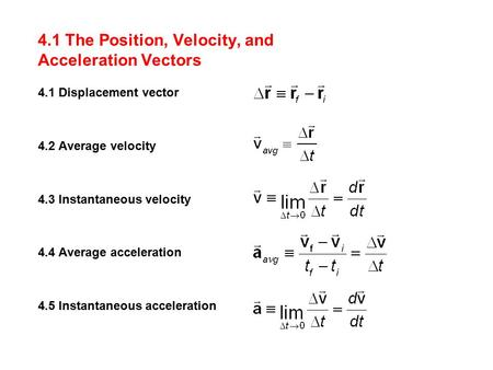 4.1 The Position, Velocity, and Acceleration Vectors 4.1 Displacement vector 4.2 Average velocity 4.3 Instantaneous velocity 4.4 Average acceleration 4.5.