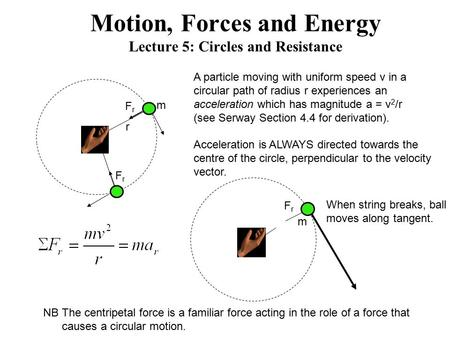 Motion, Forces and Energy Lecture 5: Circles and Resistance m FrFr FrFr m FrFr A particle moving with uniform speed v in a circular path of radius r experiences.
