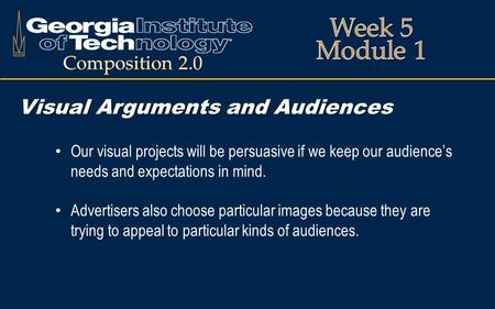 Visual Arguments and Audiences Our visual projects will be persuasive if we keep our audience's needs and expectations in mind. Advertisers also choose.