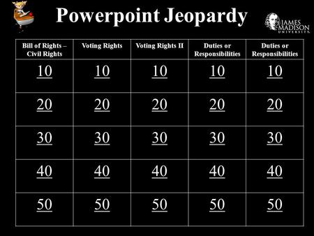Powerpoint Jeopardy Bill of Rights – Civil Rights Voting RightsVoting Rights IIDuties or Responsibilities 10 20 30 40 50.