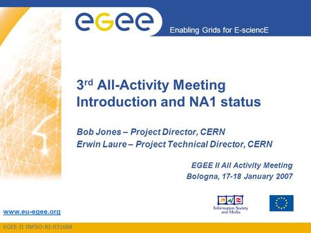 EGEE-II INFSO-RI-031688 Enabling Grids for E-sciencE www.eu-egee.org 3 rd All-Activity Meeting Introduction and NA1 status Bob Jones – Project Director,