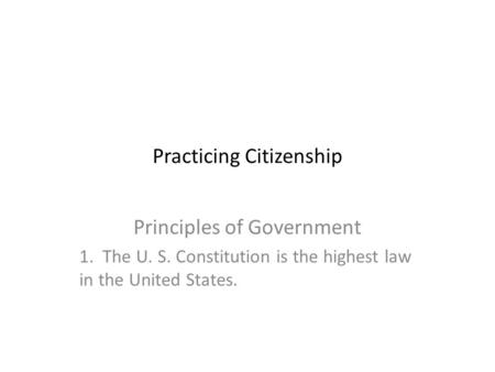 Practicing Citizenship