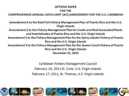 OPTIONS PAPER FOR THE COMPREHENSIVE ANNUAL CATCH LIMIT (ACL) AMENDMENT FOR THE U.S. CARIBBEAN Amendment 6 to the Reef Fish Fishery Management Plan of Puerto.