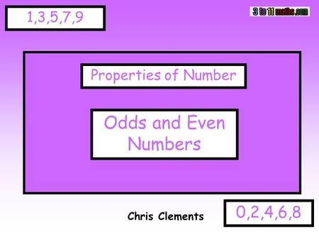1,3,5,7,9 0,2,4,6,8 Chris Clements Properties of Number Odds and Even Numbers.