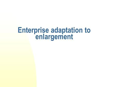 Enterprise adaptation to enlargement. Overview The adoption of the acquis is costly Comply with standards: Environmental, Safety at work, Competition.