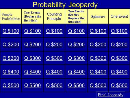 Probability Jeopardy Final Jeopardy Simple Probabilities Two Events (Replace the first disk) Counting Principle Two Events (Do Not Replace the first disk)
