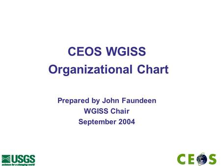 CEOS WGISS Organizational Chart Prepared by John Faundeen WGISS Chair September 2004.