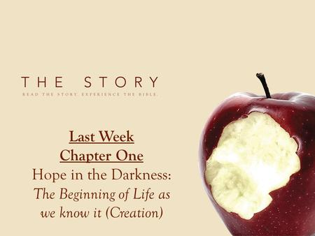 Last Week Chapter One Hope in the Darkness: The Beginning of Life as we know it (Creation)