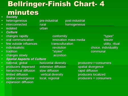 Bellringer-Finish Chart- 4 minutes  Society  heterogeneouspre-industrial post-industrial  interconnected ruralhomogeneous  isolatedurban  Culture.