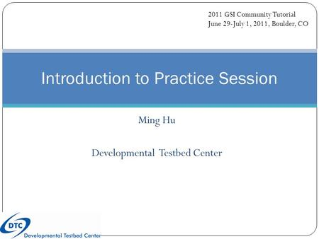 Ming Hu Developmental Testbed Center Introduction to Practice Session 2011 GSI Community Tutorial June 29-July 1, 2011, Boulder, CO.