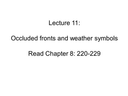 Occluded fronts and weather symbols