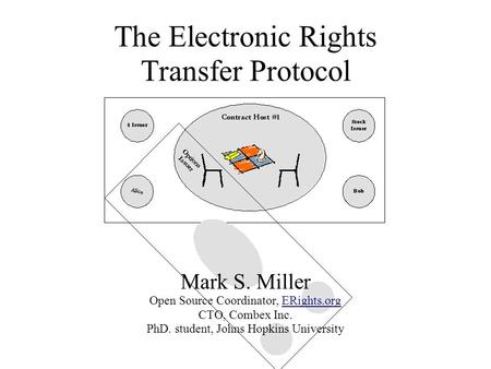 The Electronic Rights Transfer Protocol Mark S. Miller Open Source Coordinator, ERights.org CTO, Combex Inc. PhD. student, Johns Hopkins University.