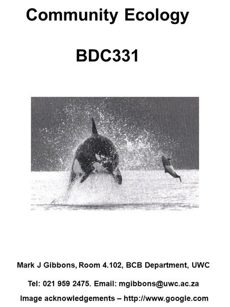 Community Ecology BDC331 Mark J Gibbons, Room 4.102, BCB Department, UWC Tel: 021 959 2475.   Image acknowledgements –