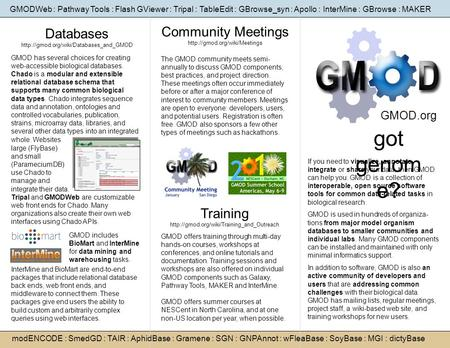 Got genom e? Community Meetings  GMOD.org The GMOD community meets semi- annually to discuss GMOD components, best practices,