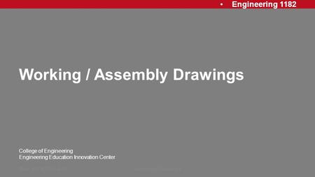 Working / Assembly Drawings