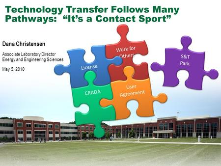 "1Managed by UT-Battelle for the U.S. Department of Energy ITS America May 2010 Technology Transfer Follows Many Pathways: ""It's a Contact Sport"" Work for."