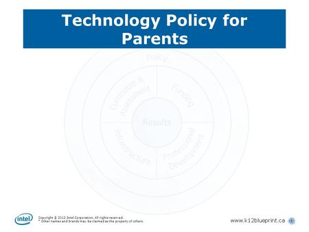 Copyright © 2012 Intel Corporation. All rights reserved. * Other names and brands may be claimed as the property of others. Technology Policy for Parents.