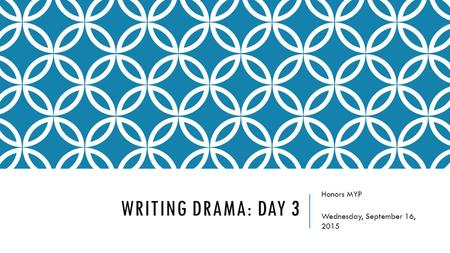 WRITING DRAMA: DAY 3 Honors MYP Wednesday, September 16, 2015.