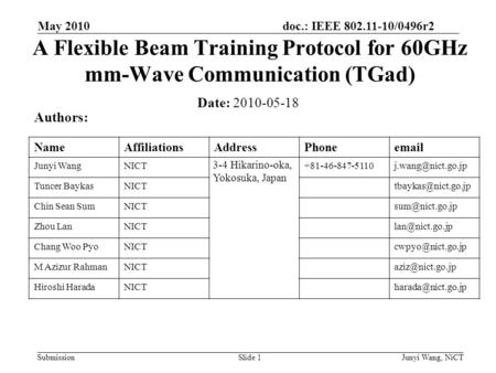 doc.: IEEE 802.11-10/0496r2 Submission A Flexible Beam Training Protocol for 60GHz mm-Wave Communication (TGad) Date: 2010-05-18 Authors: NameAffiliationsAddressPhoneemail.