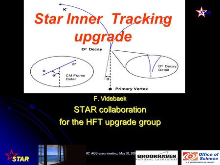 STAR RHIC AGS users meeting, May 30, 20081 Star Inner Tracking upgrade F. Videbaek STAR collaboration for the HFT upgrade group.
