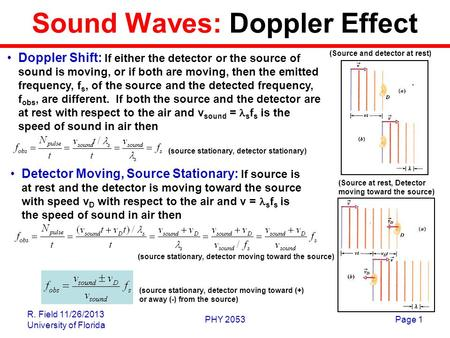 R. Field 11/26/2013 University of Florida PHY 2053Page 1 Sound Waves: Doppler Effect Doppler Shift: If either the detector or the source of sound is moving,