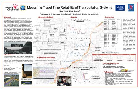 Measuring Travel Time Reliability of Transportation Systems Abstract When traveling people want to be on time and avoid any traveling delays. We worked.