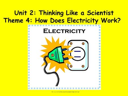 Unit 2: Thinking Like a Scientist Theme 4: How Does Electricity Work?