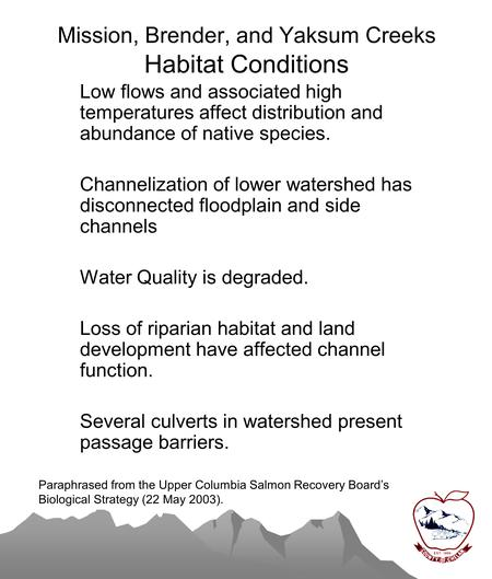 Mission, Brender, and Yaksum Creeks Habitat Conditions Low flows and associated high temperatures affect distribution and abundance of native species.