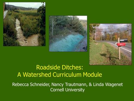Rebecca Schneider, Nancy Trautmann, & Linda Wagenet Cornell University Roadside Ditches: A Watershed Curriculum Module.