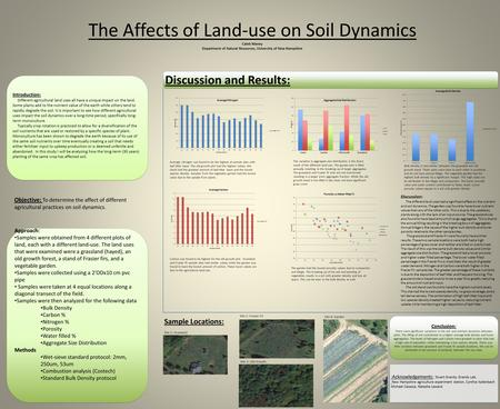 Approach: Samples were obtained from 4 different plots of land, each with a different land-use. The land uses that were examined were a grassland (hayed),