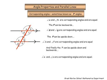 Angle Properties and Parallel Lines Corresponding angles – sometimes known as F angles. ab c e d f gh c and h are corresponding angles and are equal. The.