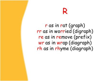 R r as in rat (graph) rr as in worried (digraph) re as in remove (prefix) wr as in wrap (diagraph) rh as in rhyme (diagraph)