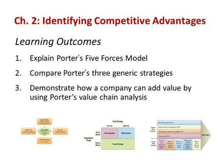 Ch. 2: Identifying Competitive Advantages Learning Outcomes 1.Explain <strong>Porter</strong> ' s <strong>Five</strong> <strong>Forces</strong> Model 2.Compare <strong>Porter</strong> ' s three generic strategies 3.Demonstrate.