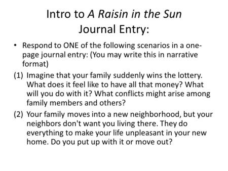 a raisin in the sun review act i scene i what is the setting  intro to a raisin in the sun journal entry