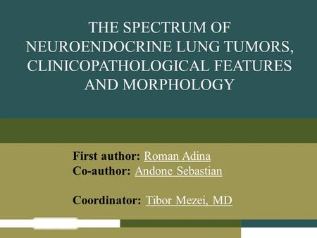 THE SPECTRUM OF NEUROENDOCRINE LUNG TUMORS, CLINICOPATHOLOGICAL FEATURES AND MORPHOLOGY First author: Roman Adina Co-author: Andone Sebastian Coordinator: