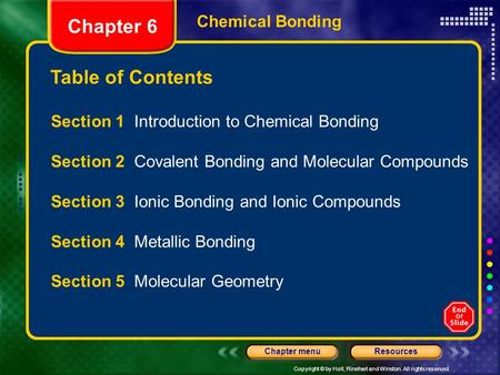 Copyright © by Holt, Rinehart <strong>and</strong> Winston. All rights reserved. ResourcesChapter menu Table of Contents Chapter 6 Chemical <strong>Bonding</strong> Section 1 Introduction.