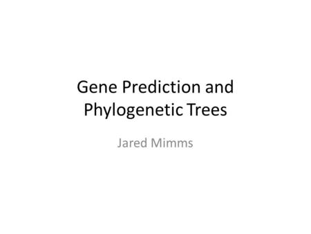 Gene Prediction and Phylogenetic Trees