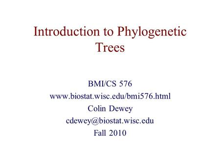Introduction to Phylogenetic Trees