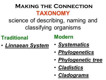 Making the Connection TAXONOMY science of describing, naming and classifying organisms Traditional Linnaean System Modern Systematics Phylogenetics Phylogenetic.