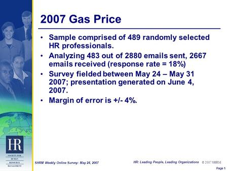 HR: Leading People, Leading Organizations © 2007 SHRM SHRM Weekly Online Survey: May 24, 2007 2007 Gas Price Sample comprised of 489 randomly selected.