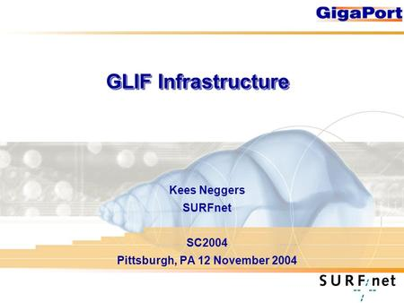 GLIF Infrastructure Kees Neggers SURFnet SC2004 Pittsburgh, PA 12 November 2004.