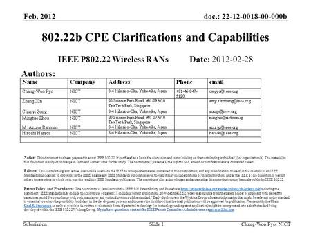 Doc.: 22-12-0018-00-000b Submission Feb, 2012 Chang-Woo Pyo, NICTSlide 1 802.22b CPE Clarifications and Capabilities IEEE P802.22 Wireless RANs Date: 2012-02-28.