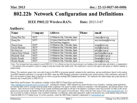 Doc.: 22-13-0037-00-000b Submission 802.22b Network Configuration and Definitions Mar. 2013 Chang-woo Pyo (NICT)Slide 1 IEEE P802.22 Wireless RANs Date:
