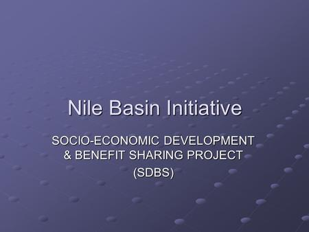 Nile Basin Initiative SOCIO-ECONOMIC DEVELOPMENT & BENEFIT SHARING PROJECT (SDBS)