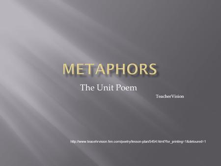 The Unit Poem TeacherVision