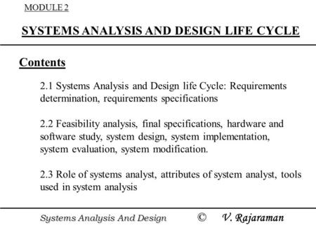 SYSTEMS ANALYSIS AND DESIGN LIFE CYCLE