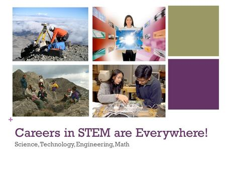 + Careers in STEM are Everywhere! Science, Technology, Engineering, Math.