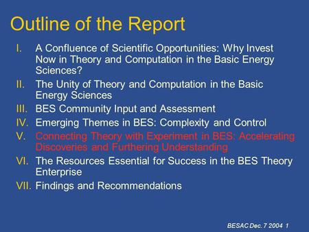 BESAC Dec. 7 2004 1 Outline of the Report I. A Confluence of Scientific Opportunities: Why Invest Now in Theory and Computation in the Basic Energy Sciences?
