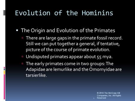 Evolution of the Hominins © 2010 The McGraw-Hill Companies, Inc. All Rights Reserved 1  The Origin and Evolution of the Primates  There are large gaps.