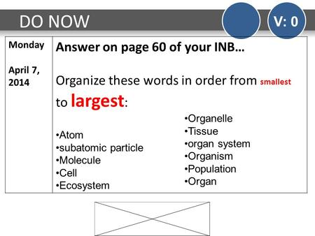 DO NOW V: 0 Monday April 7, 2014 Answer on page 60 of your INB… Organize these words in order from smallest to largest : Atom subatomic particle Molecule.